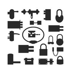 Lock icons set black silhouette vector