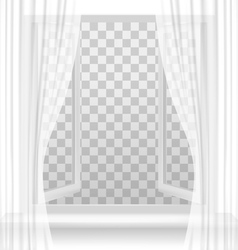 Open window with curtains on a transparent vector