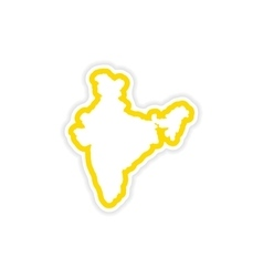 Paper sticker indian map on white background vector