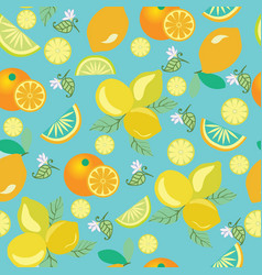 Pattern with lemons flowers leaves and oranges vector