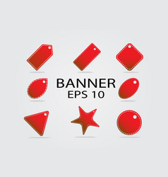 Red banner set on background vector