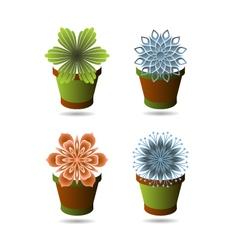 Set of flowerpots vector image vector image