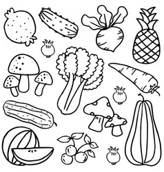 Set of vegetable hand draw doodles vector