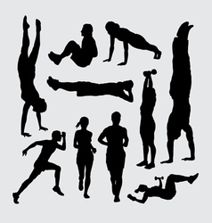 Sport training silhouettes vector image vector image