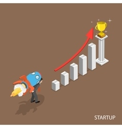 Startup isometric flat concept vector image vector image