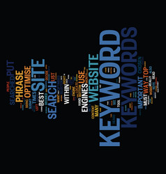The importance of relevant keywords text vector