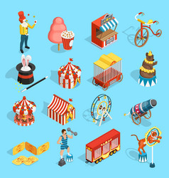 Travel circus isometric icons set vector
