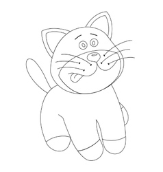 White cartoon cute kitten vector image
