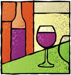 wine stained glass vector image