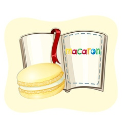 Yellow macaron and a book vector