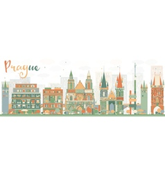 Abstract prague skyline with color buildings vector