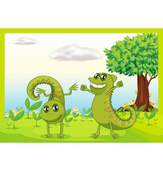 Two chameleons in nature vector