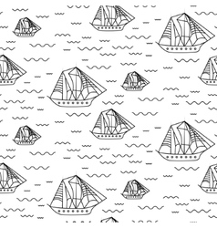 Sailing ship seamless outline pattern in vector