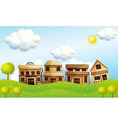 Four different kinds of wooden house vector