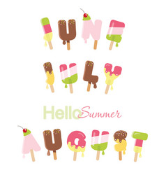 June july august hello summer ice cream melted vector