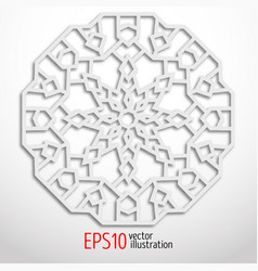 3d white geometric snowflake arabesque design vector