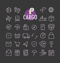 Different cargo icons collection web and mobile vector