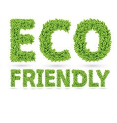 Eco friendly word made of green leafs vector