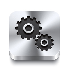 Square metal button perspektive - gear icon vector