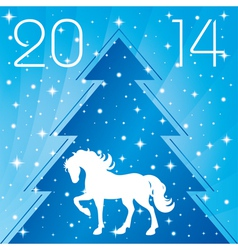 Background with horse silhouette christmas tre vector
