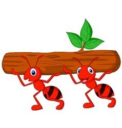 Team of ants cartoon carries log vector image