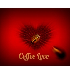 Heart of coffee beans with coffee love text vector image