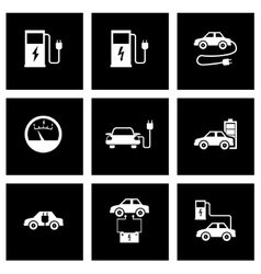Black electric car icon set vector