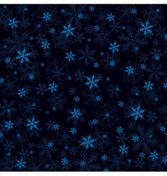 Dark blue christmas background with many snowflake vector