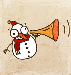 Snowman with loud speaker cartoon vector
