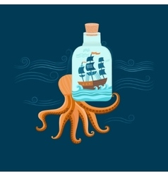 Octopus and ship vector