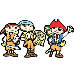 Children in pirate costumes vector