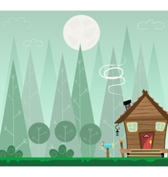 Winter forest landscape and the houses shelter vector