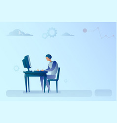 Abstract business man sitting at office desk vector