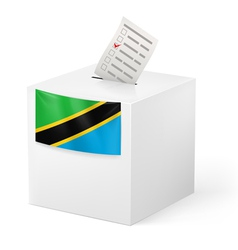 Ballot box with voting paper tanzania vector