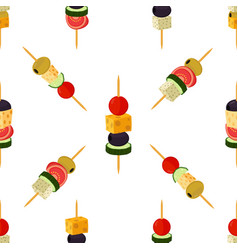 Canapes tapas seamless pattern cartoon style vector