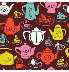 Coffee and tea seamless pattern vector image vector image