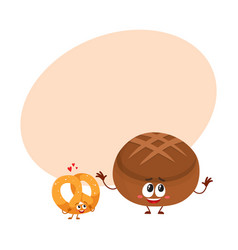 Couple of smiling german pretzel and brown bread vector