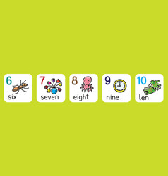 Education cards for learning to count from 1 to 10 vector