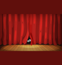 eyes behind red curtains on wood stage vector image