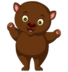 fat brown bear cartoon vector image vector image