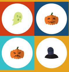 flat icon celebrate set of tomb phantom pumpkin vector image