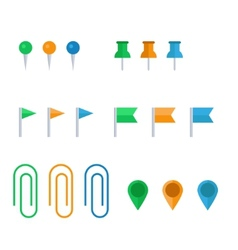 Flat icon set of pins and clips vector image