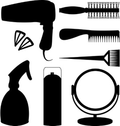 Hair accessories and barber tools black icons vector