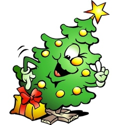 Hand-drawn of an pointing christmas tree vector