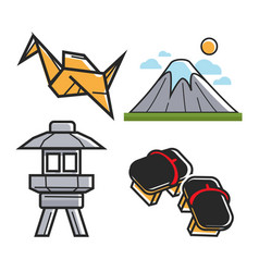 japan travel symbols and culture or famous vector image vector image