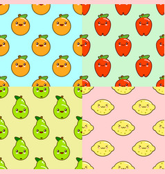 kawaii fruits pattern set on color background vector image vector image