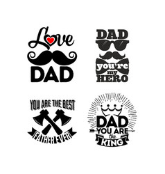 Logos and cards with typography about the dad vector