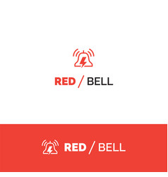 Red bell alert and notification logo vector