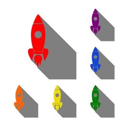Rocket sign set of red orange vector