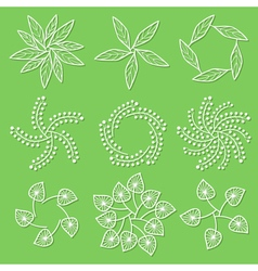 Set of floral logo on green background vector image vector image
